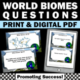 Biomes of the World Map, 6th 5th Grade Science Review, Biome Task Cards