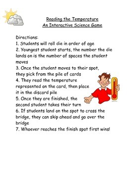 Science Board Game: Reading Temperatures