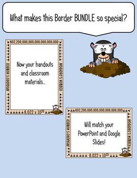Science Borders BUNDLE: Chemistry - Set 1 {Portrait Page & Landscape Slide}