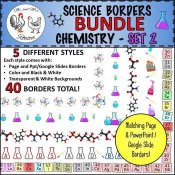 Science Borders BUNDLE: Chemistry - Set 2 {Portrait Page & Landscape Slide}