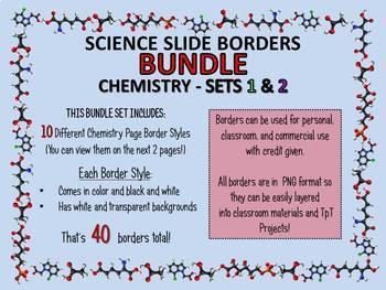 Science Borders Slide (LANDSCAPE) BUNDLE: Chemistry Sets 1 & 2