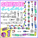 Science Borders: flasks, test tubes, physics symbols and chemistry molecules