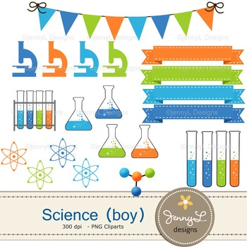 Science Boy digital paper and clipart