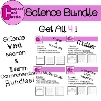 Grade 7 Manitoba Curriculum Science Bundle: Word Search/ T