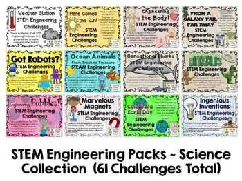 Science Bundle Collection ~ 12 STEM Engineering Packs ~ 61 Total Challenges!