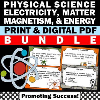 Physical Science BUNDLE States of Matter Energy Electricity and Magnetism
