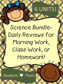 Science Bundle-Unit Daily Reviews for Morning Work, Class