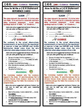 Science C-E-R Cards