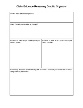 Science CER Graphic Organizer