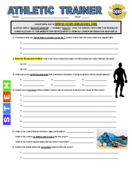 Science Career Webquest - Athletic Trainer