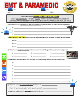 Science Career Webquest - EMT and Paramedic