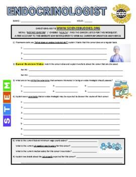 Science Career Webquest - Endocrinologist