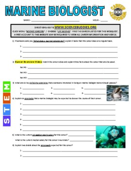 Science Career Webquest - Marine Biologist
