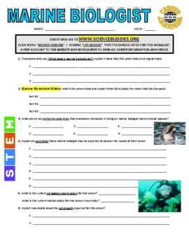 Science Career Webquest - Marine Biologist