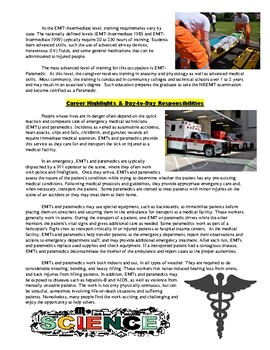 Science Careers : EMT / Paramedic Article and Worksheet (Biology and Health)