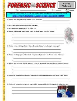 Forensic Science Webquest Worksheets Teachers Pay Teachers