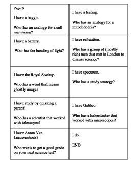 Science Cells Vocabulary Activity Elementary Grade 5