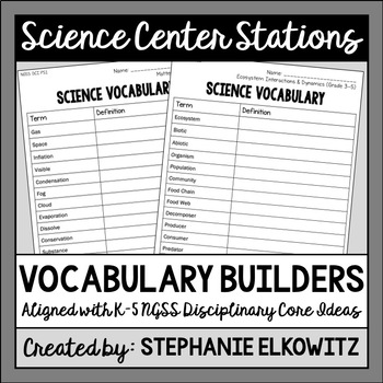 Science Center NGSS Vocabulary Builders for Grades K-2 and 3-5