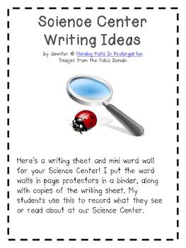 Science Center Writing Sheet & Mini Word Wall