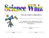 Science Certificate Award