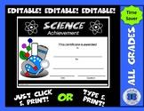 Science Certificate - Editable