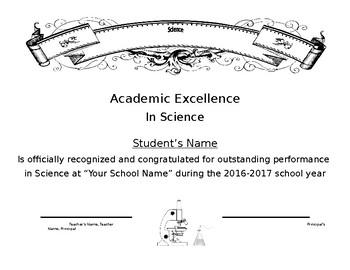 Science Certificate Simple Easy Generic End of School Year Award