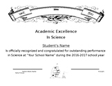 Science Certificate Simple Easy Generic End of School Year Award