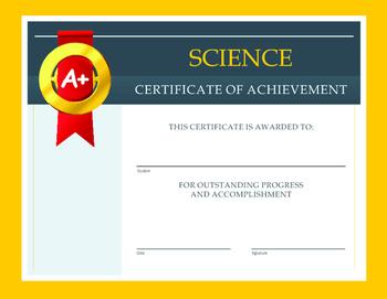 Science Certificate of Achievement
