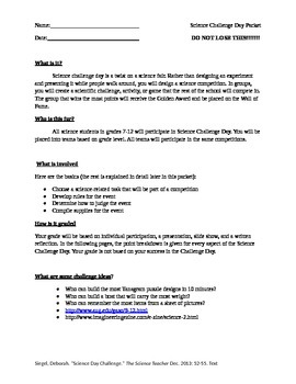 Science Challenge Day Student Packet (Science Fair Alternative)