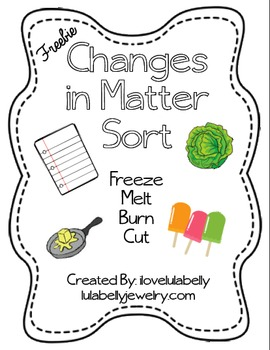 Science Changes in Matter Sort Printable