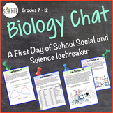 Science Chat First Day of School Icebreaker Lab Activity for Biology