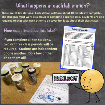Science Chat First Day of School Ice Breaker Lab Station Activity for Biology