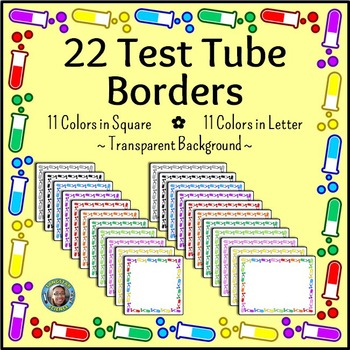 Science Chemistry Clip Art - 22 Test Tube Borders {Commercial & Personal Use}