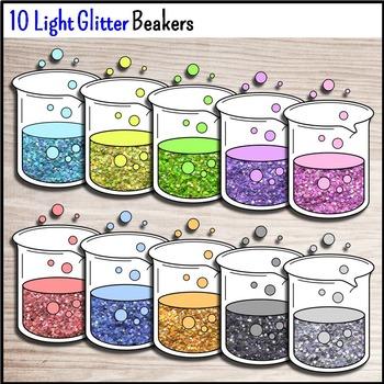 Science Chemistry Clip Art - 30 Glitter Beakers {Commercial Use Okay}