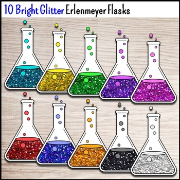 Science Chemistry Clip Art - 30 Glitter Erlenmeyer Flasks {Commercial Use Okay}