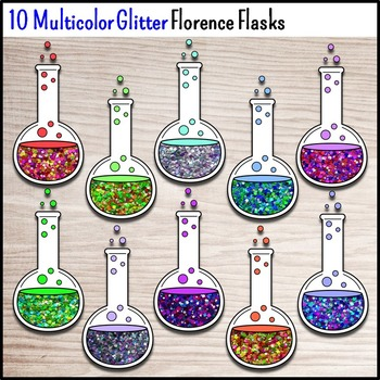 Science Chemistry Clip Art - 30 Glitter Florence Flasks {Commercial Use Okay}