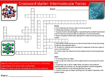 Science Chemistry Intermolecular Forces 6 x Starters Wordsearch Crossword