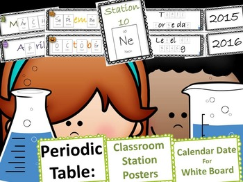 Science Chemistry Periodic Table Calendar or Date Labels