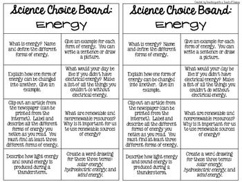Science Choice Boards Volume One