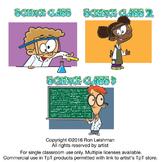 Science Class Cartoon Clipart Volumes 1-3 Bundle