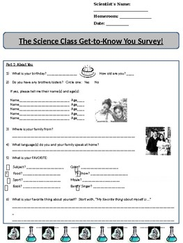 Science Class Get-to-Know-You Survey!