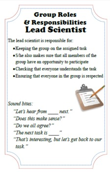 Science Class Group Work Roles