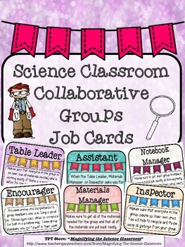 Science Classroom Collaborative Groups Job Cards