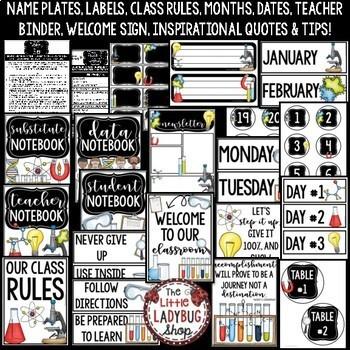 Science Classroom Theme EDITABLE Bundle -Science Classroom Decor