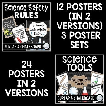 Science Classroom Poster Bundle in Burlap and Chalkboard