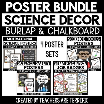 Science Classroom Decor Mega Bundle in Burlap and Chalkboard