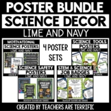 Science Classroom Poster  Bundle in Navy and Lime
