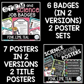 Science Classroom Decor Mega Bundle in Pink, Lime, and Teal