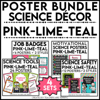 Science Classroom Poster Bundle in Pink, Lime, and Teal