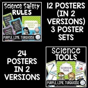 Science Classroom Decor Mega Bundle in Purple, Lime, and Bright Turquoise
